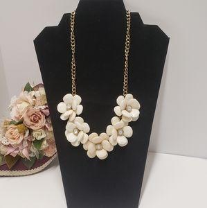Gorgeous White Flower Statement Necklace